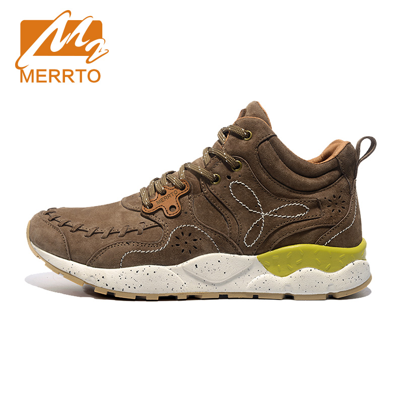 ФОТО MERRTO Skidproof Men Walking Shoes Outdoor Cowhide Waterproof Breathable Sports Warm Boost Sneakers #MT18626