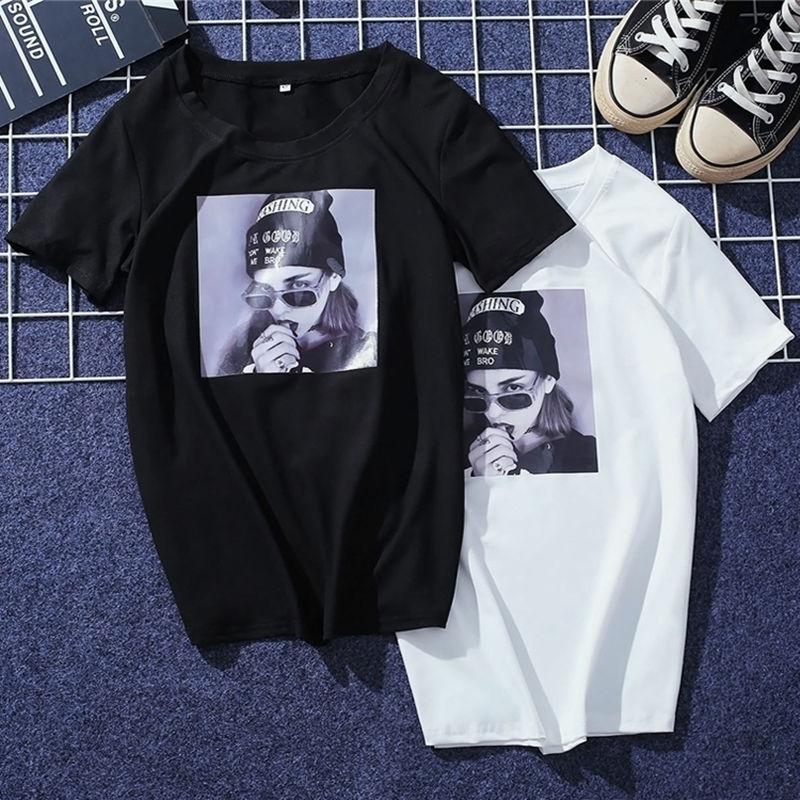 JIANWEILI Summer T shirt women loose casual printing harajuku Short Sleeves T-shirts tshirt Tops Tee plus size