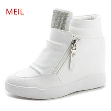 Wedge Platform Sneakers 8CM Hidden Heels Shoes Woman Fashion