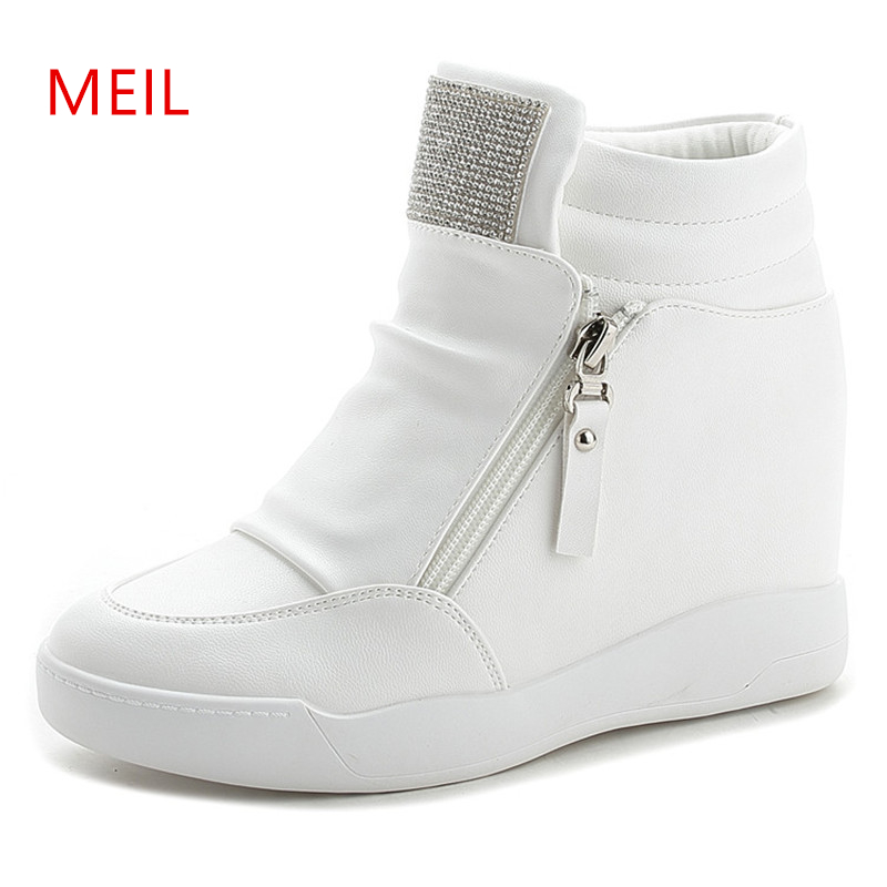 Wedge Platform Sneakers 8CM Hidden Heels Shoes Woman Fashion Rhinestone Sweet Casual Sneakers Ladies Leather Shoes White Black