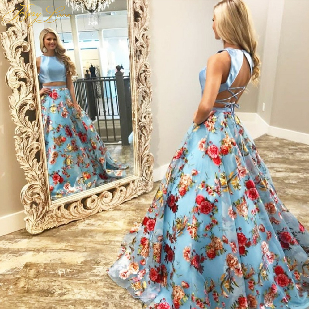 Berylove 2020 Long Blue Floral Print Two Pieces Evening Gown Formal Halter Strap Evening Dress Robe De Soiree 2 Piece Prom Gown
