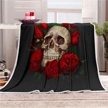 Floral Skull Throw Blanket 3