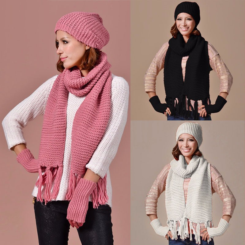 fe44db943 Unisex Womens Mens Knitted Beanie Cap Warm Hat Scarf And Gloves Winter Set  Pink, Black, White