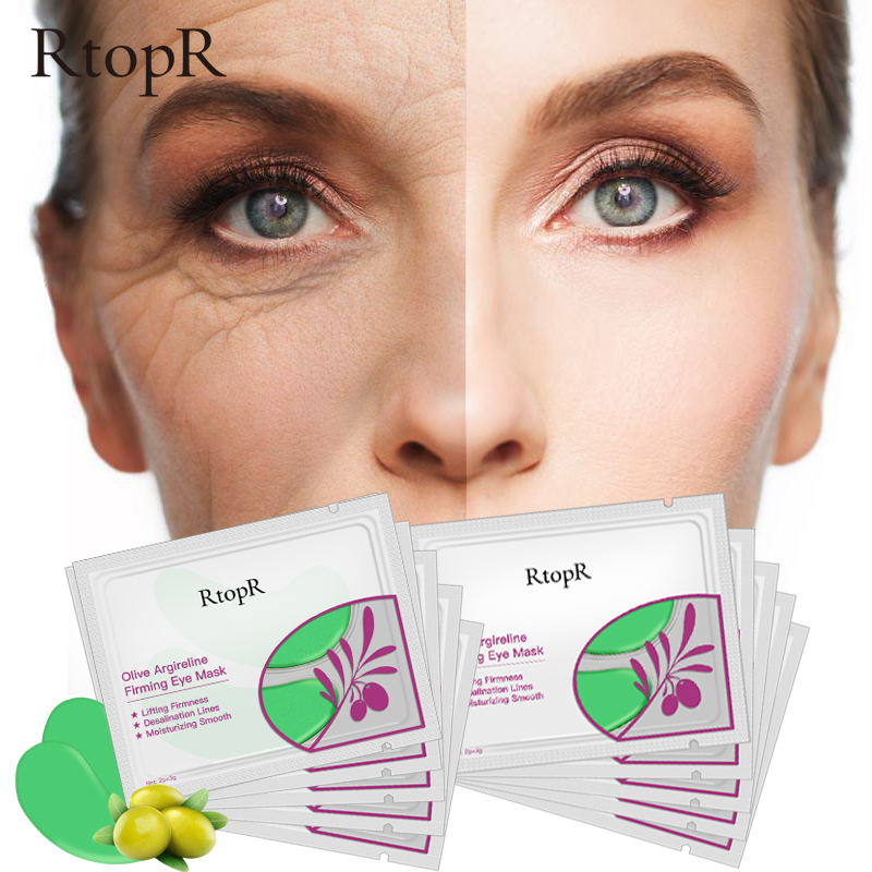 5pair Olive Argireline Firming Eye Mask Moisturizing Smooth Lifting Firmness Eye Serum Dark Circles Fine Lines Green Eye Patches(China)