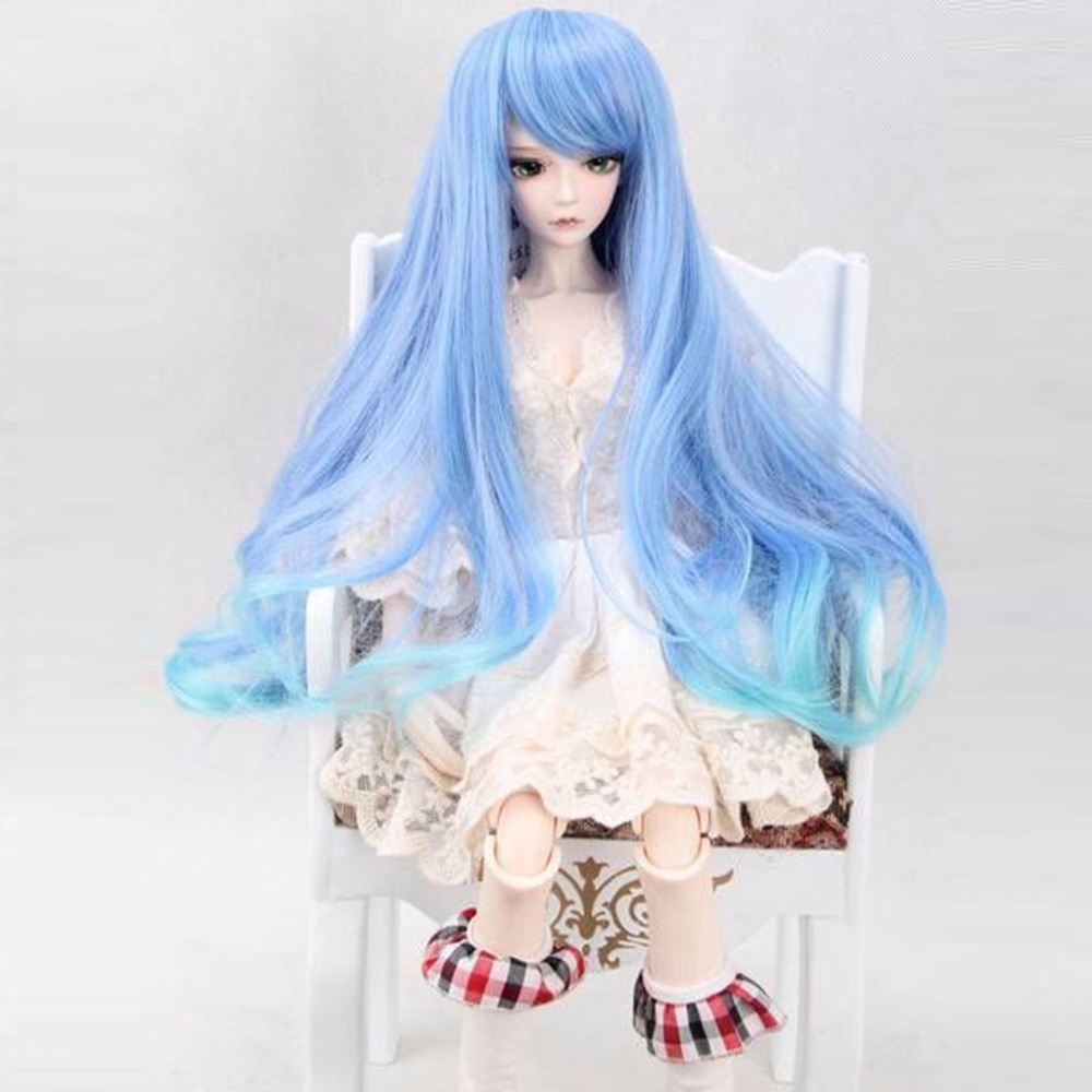 97# Blue Colorful Wig/Hair for 1/3 MSD DOD AOD LUTS BJD Dollfie 7-8'' new 1 3 22 23cm 1 4 18 18 5cm bjd sd dod luts dollfie doll orange black short handsome wig
