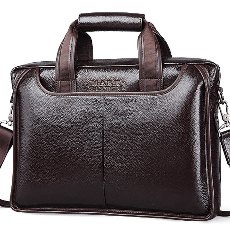 MARK SAXTON Guarantee Natural Genuine Leather Bag Handbag Famous Brand  Designer Soft Cowskin Casual Business Men Briefcases Bags f970294fec769