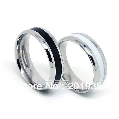 Men rings,New Fashion charm 316L stainless steel rings,Black/White circle,Young men,Fast ...