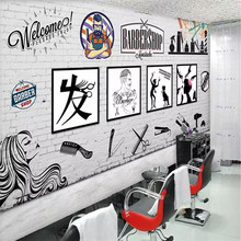 Creative beauty salon barber shop background wall professional custom mural wholesale wallpaper poster photo