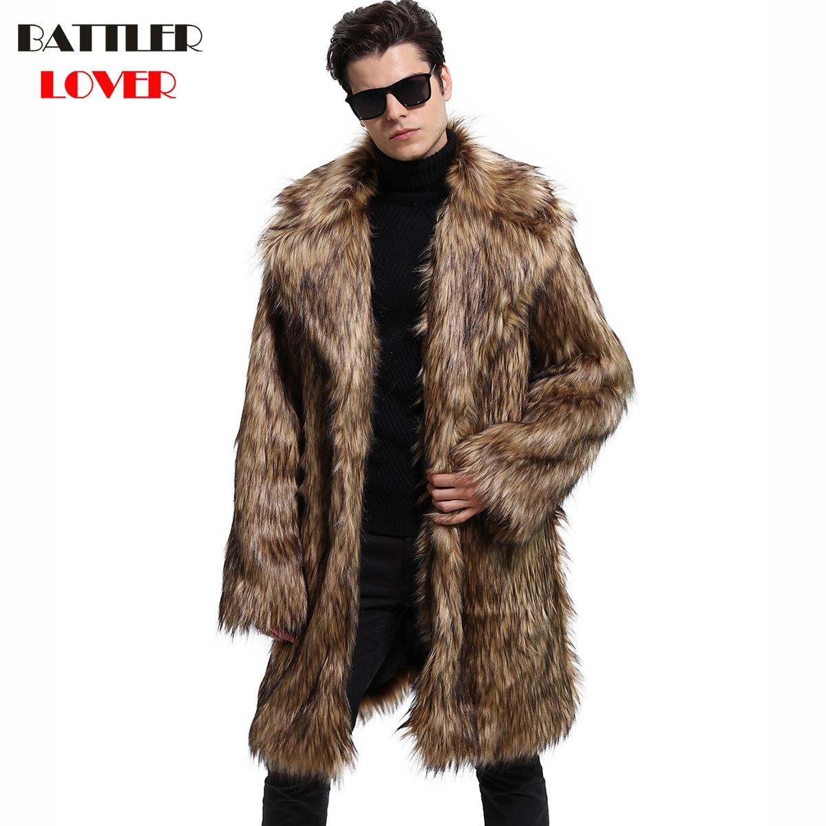 Mens Fur Coat Winter Faux Fur Thick Outwear Coats Men Punk Parka Jackets Hombre Long Leather Overcoat Genuine Fur Brand Clothing