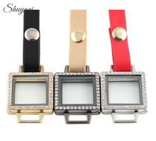 10pcs/lot Lowest Price Leather Wrap Glass Locket Bracelet for Charms Square Floating Locket Bracelet for Women/Men