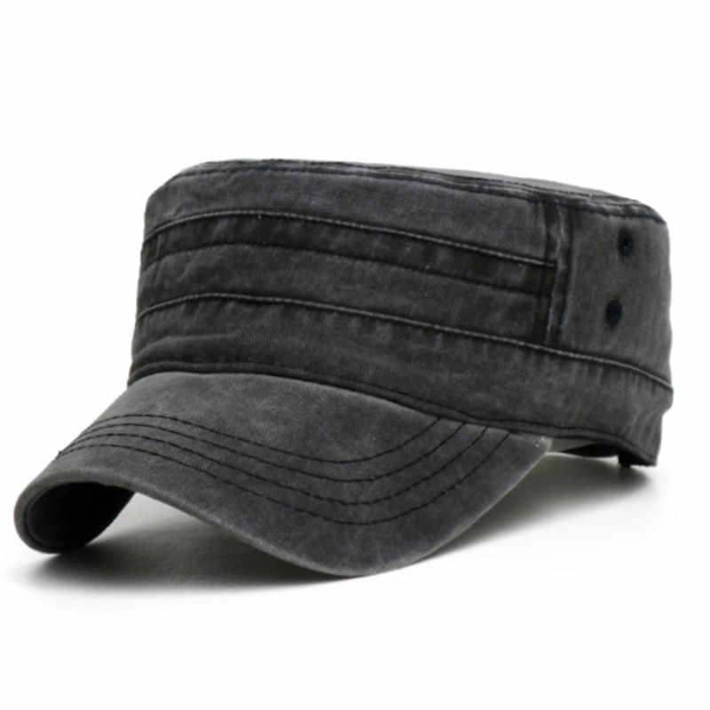 b074d317530024 ... 2019 New Denim Flat Top Cap Women Men Snapback Caps Vintage Army Hat  Cadet Military Patrol ...