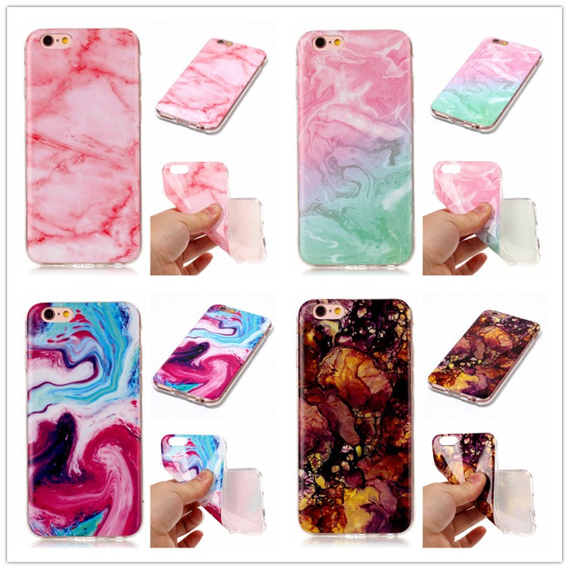 Phone Cases For iphone 6 Case Art painting Colorful For iphone 7 6 6S 8 Plus Case Marble Soft IMD Silicone Glossy Back Cover