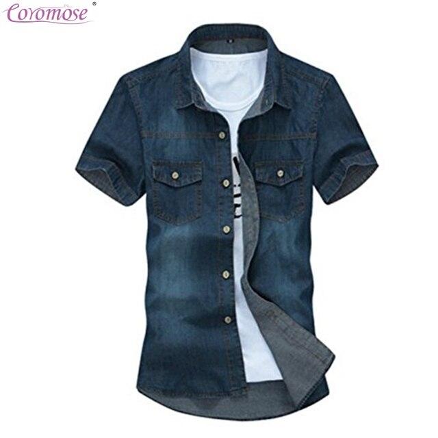 4779d69049 Coromose Ocasional de Los Nuevos Hombres de Manga Corta Camisas de  Mezclilla Masculino Lavado de Lujo
