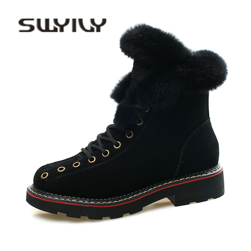 SWYIVY Martin Boots Shoes Woman Rabbit Fur Warm Plush 2019 Winter New Female Shoes Casual Genuine Leather Snow Boots High Top