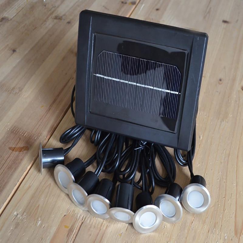 Solar Stainless Underground 8 Light Heads 16 LED Brick Deck Lamp Solar Floor Buried Light Garden