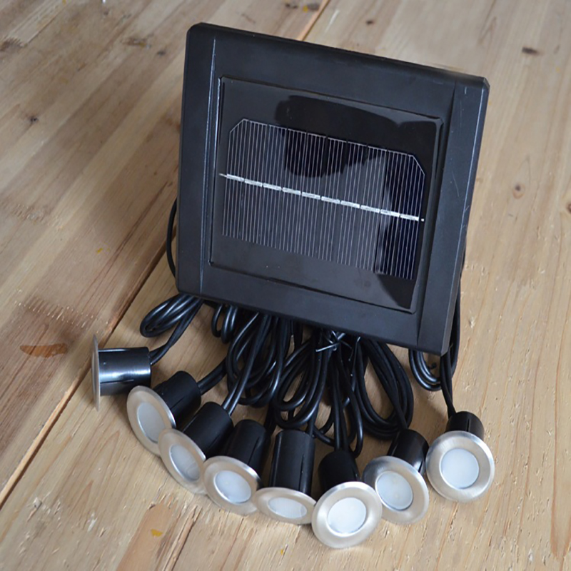 Solar Stainless Underground 8 Light Heads 16 LED Brick Deck Lamp Solar Floor Buried Light Garden
