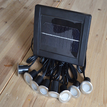 Solar Stainless Underground 8 Light Heads 16 LED Brick Deck Lamp Solar Floor Buried Light Garden Pathway Spot Lighting