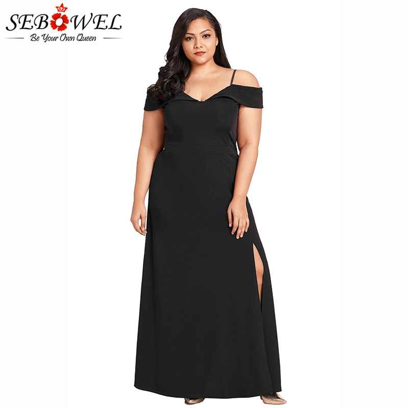 a09162f4504 SEBOWEL Sexy Plus Size Black Off Shoulder Long Dress Women Summer ...