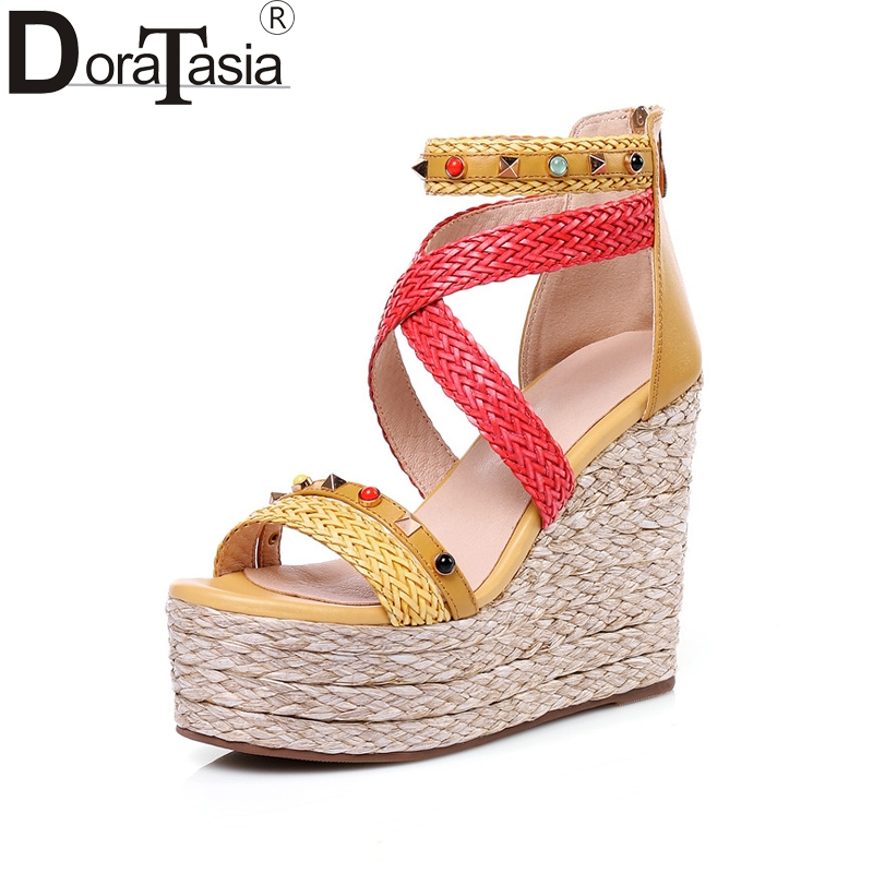 DoraTasia New women's Genuine Leather Weave Ankle Strap Wedges High Heel Platform Shoes Woman Casual Summer Sandals Size 34-39 ribetrini women hot sale cow leather low heel wedges summer casual shoes woman ankle strap open toe platform sandals size 34 39