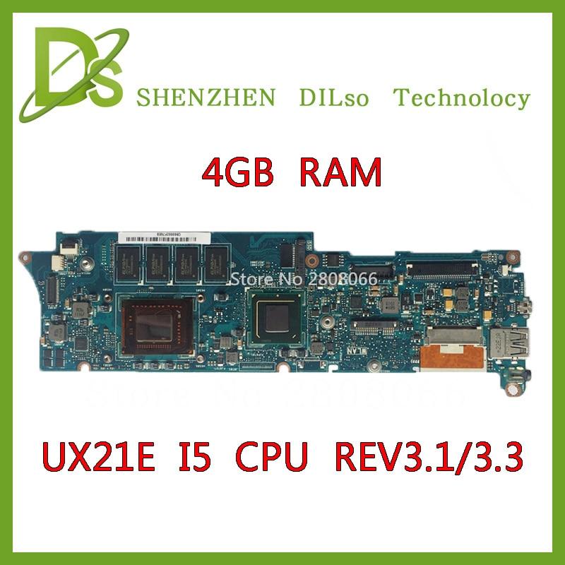 KEFU UX21E pro základní desku notebooku ASUS UX21E ZENBOOK UX21 i5 CPU 4G RAM rev3.3 & rev3.1 UX21E základní deska Test