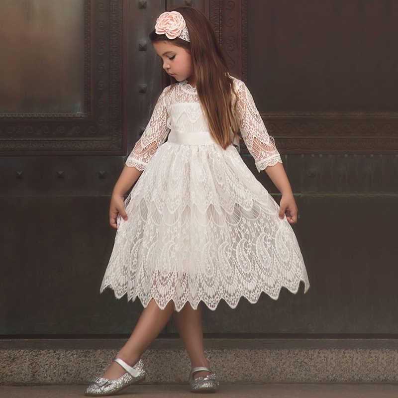 ffd00abd09 Baby Kids Autumn Winter Dresses For Girls Party Frock Lace Hollow Princess  Children School Wear Kids