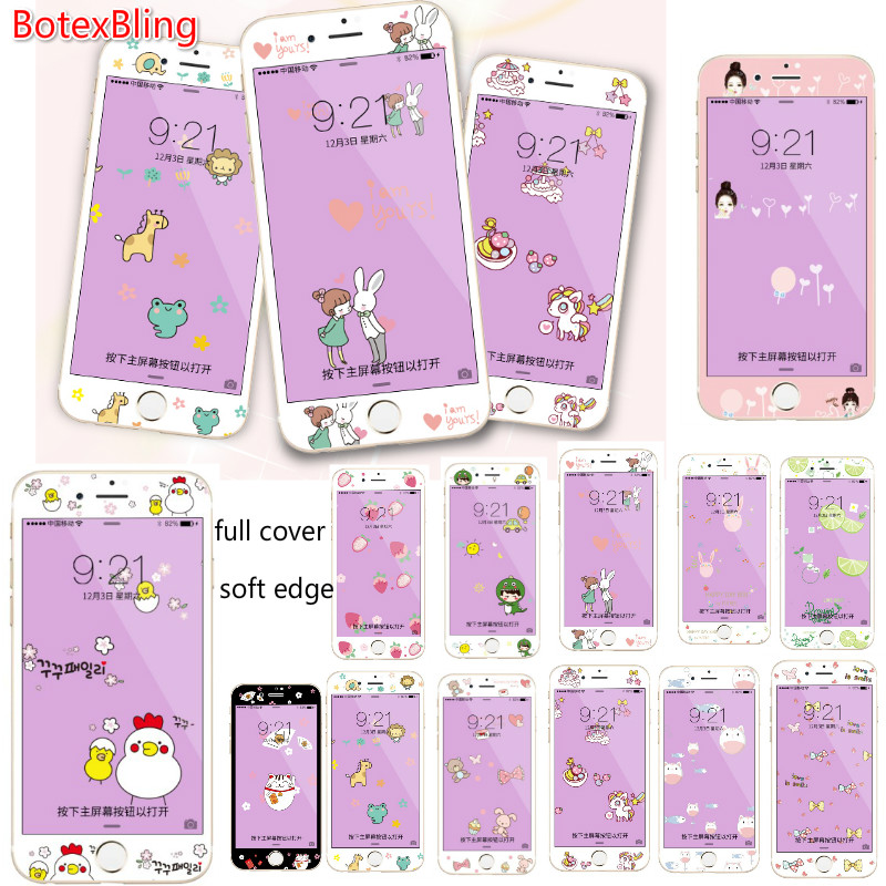 3D relief cartoon Deer bear soft <font><b>edge</b></font> <font><b>Blu-Ray</b></font> front film for iphone 7 tempered glass film 7plus 6 6S 6plus guard film full cover