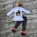 Хэллоуин ОСЕНЬ/Зима младенца дети НАРЯДЫ точка верхней БУ кошка брюки устанавливает девушки с длинным рукавом бутик одежды соответствия лук и ожерелье