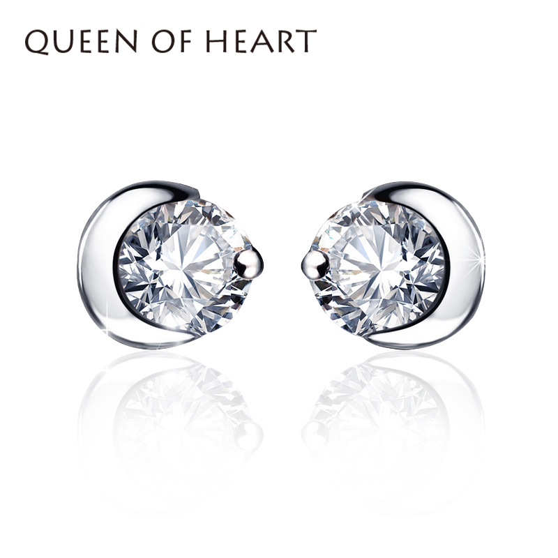 QUEEN OF HEART Fine Jewelry 925 Sterling Silver Jewelry Moon Stud Earring A5