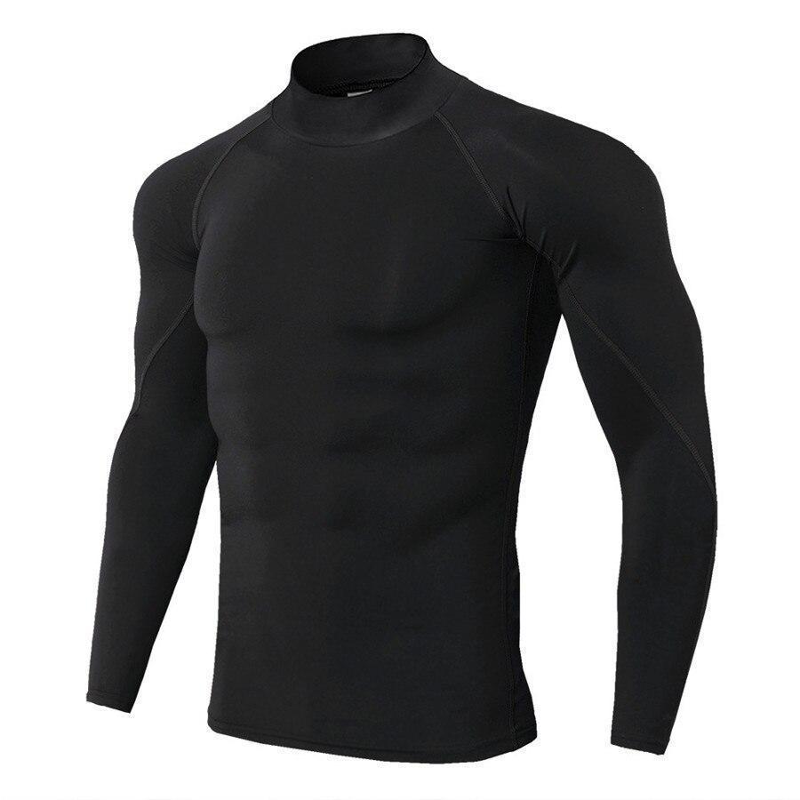 Mens Running Sport Shirts Gym Fitness Compression Skinny T Shirt Male Jogging Training Black Solid Tee Tops Crossfit Sportswear