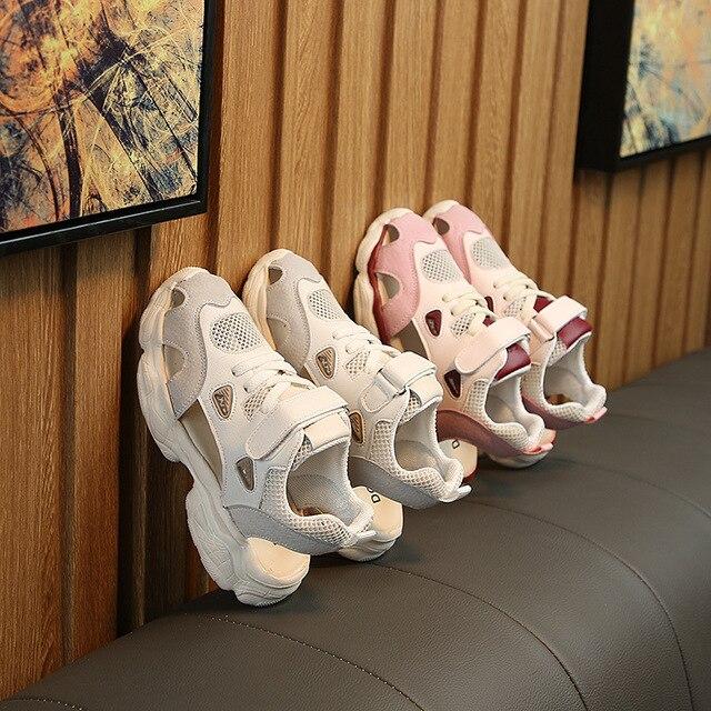 ad5b7db65 Детские спортивные кроссовки для девочек; детская обувь с перфорацией;  коллекция 2019 года; сезон весна лето; малышей; из искус