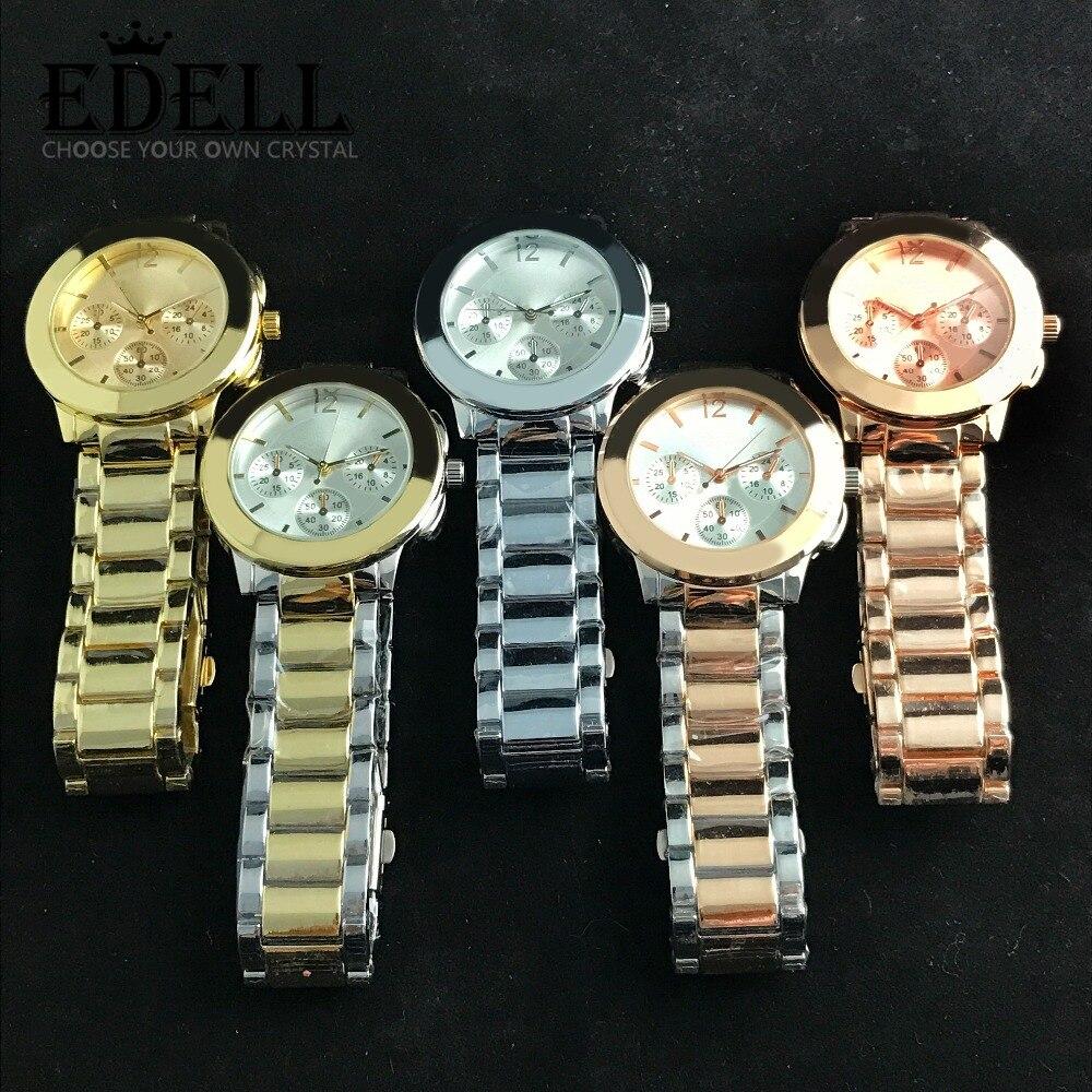 EDELL Alloy Fashion Business Exquisite Men and Women Couple Quartz Watch Rose Go