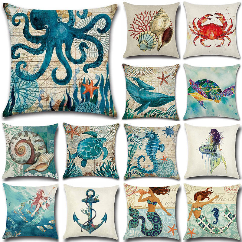 Sea Turtle Nautical Mermaid Pattern Cotton Linen Throw Pillow Cushion Cover Car Home Decoration Sofa Decorative Pillowcase 40018