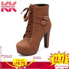 dda73ef427 Tamanho 30-50 KemeKiss Mulheres Ankle Boots de Salto Alto Moda Senhora Cinta  Cruz Sapatos de Salto Mulheres Botas de Inverno Que.