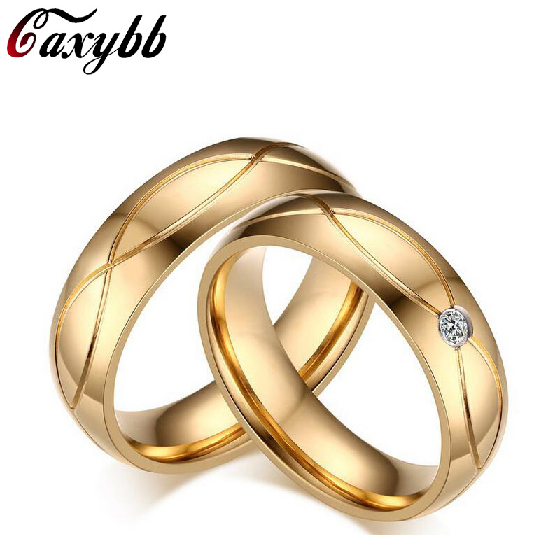 caxybb top quality couple ring fashion wedding design stainless steel exquisite inlaid ring micro inlaid zircon - Wedding Ring Designers