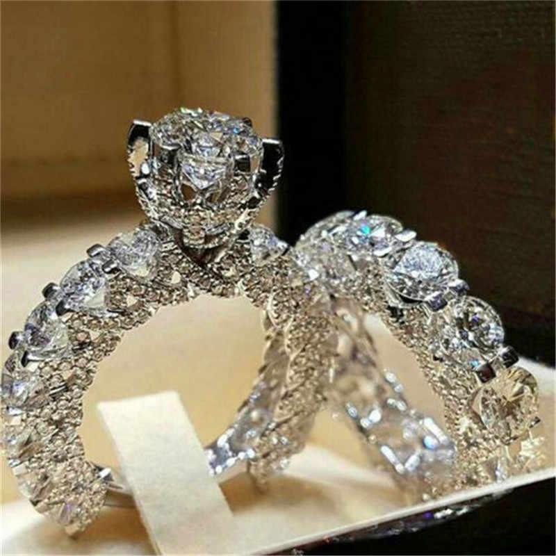 高級男性女性の結晶ジルコン石リングヴィンテージ 925 シルバー結婚指輪セットの約束婚約指輪男性と女性