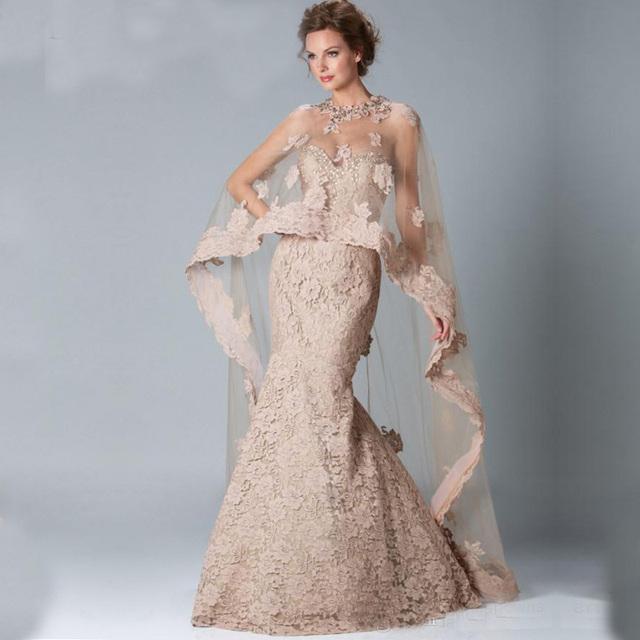 Vestidos madre de la novia elegantes mermaid Lace Mãe dos Vestidos de Noiva jaqueta bolero vestido de noite das mulheres