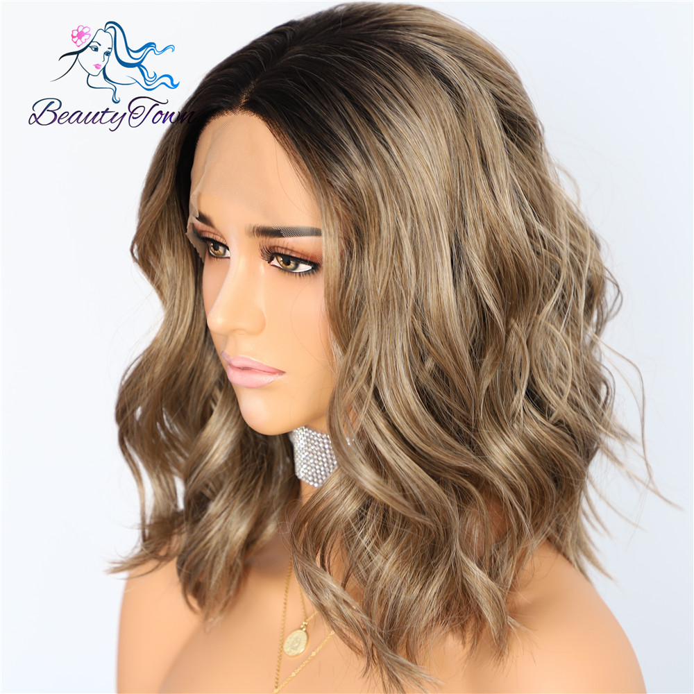BeautyTown Black Ombre Brown Short Heat Resistant Hair Cosplay Blogger Daily Makeup Synthetic Lace Front Wedding Party Wigs-in Synthetic None-Lace  Wigs from Hair Extensions & Wigs    2