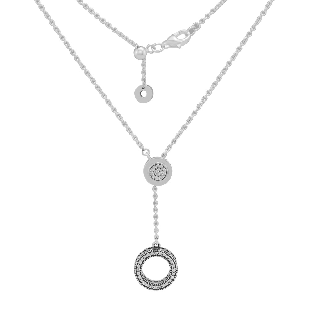Signature Necklace 100% 925 Sterling Silver Clear Cz Small