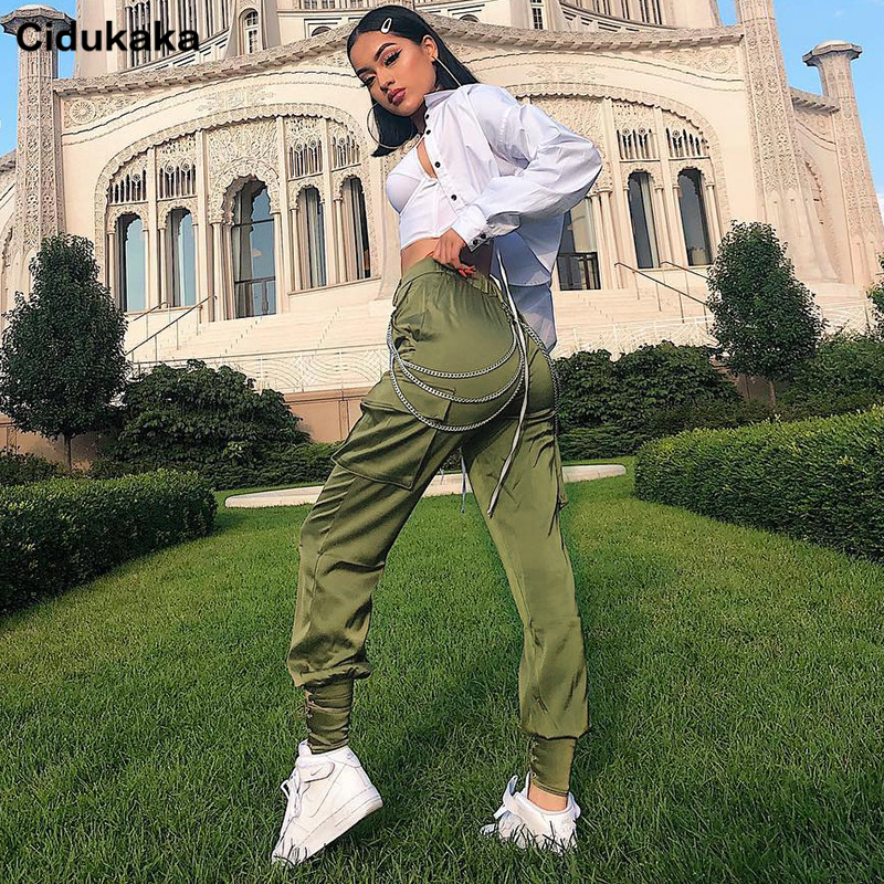 Cidukaka Cargo   Pants   Army Green Casual Satin   Pants     Capris   Elastic High Waist Women Streetwear Bandage Joggers Sweatpants Solid