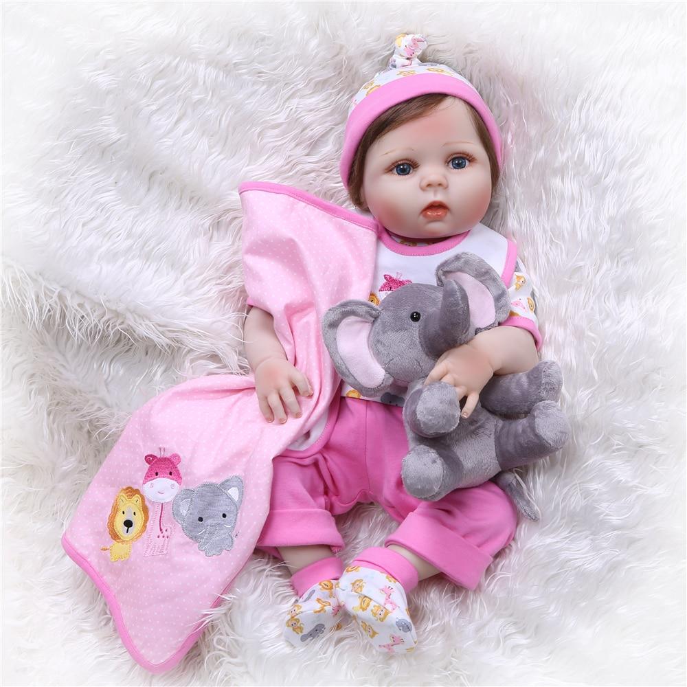 NPK новый 55 см Bebe Reborn куклы Реалистичная полная силиконовая девочка bby кукла с милыми плюшевыми игрушками живые Детские Куклы как девочки ...