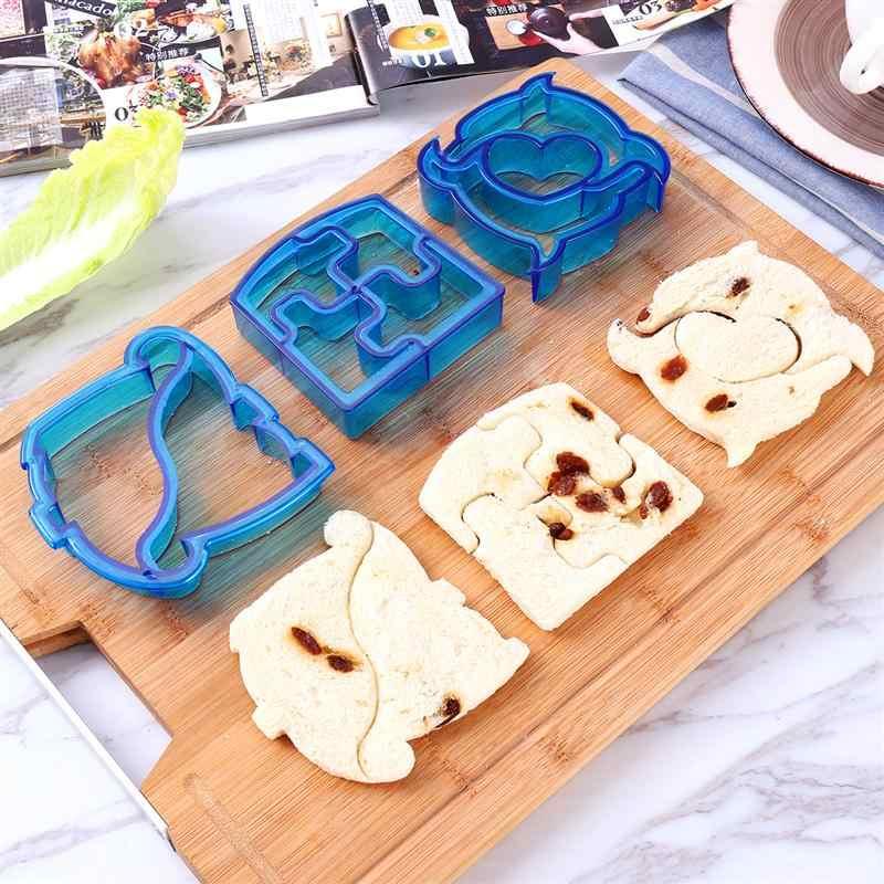 Cortadores de sanduíche ajustados 8 moldes vegetais de aço inoxidável dos pces e 6 cortadores de pão plásticos dos pces e 2 punhos dos pces