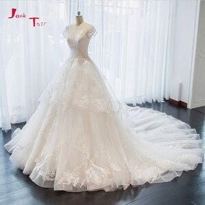 Image 1 - Jark Tozr nowa specjalna Trouwjurken z krótkim rękawem aplikacje koronkowe szorty ślubne dla nowożeńców sukienka De Mariage sklep internetowy chiny