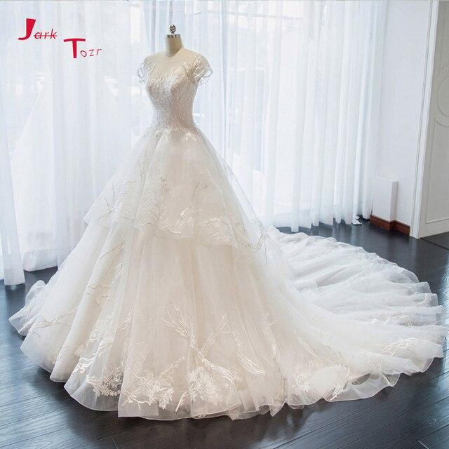 Jark Tozr nowa specjalna Trouwjurken z krótkim rękawem aplikacje koronkowe szorty ślubne dla nowożeńców sukienka De Mariage sklep internetowy chiny