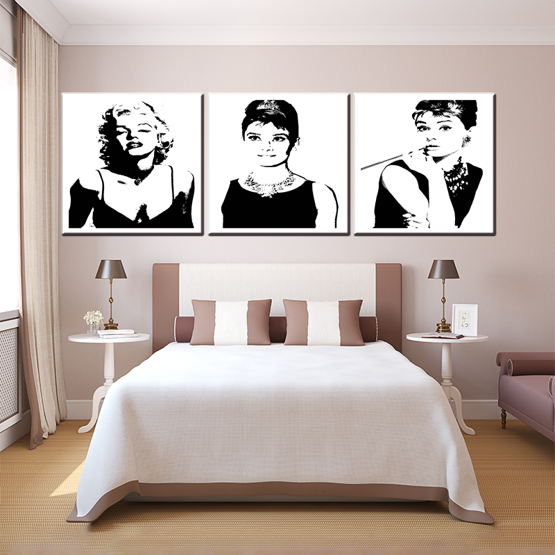 New arrival 3 pieces Norma Jean Remix famous movie star flowers for living room wall art pictures oil painting home decor pub