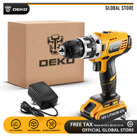 DEKO GCD18DU2 18V Mini Power Driver LED 2 Speed Lithium Ion Battery Cordless Drill Home DIY Electric Screwdriver Standard Set|Electric Drills| |  -