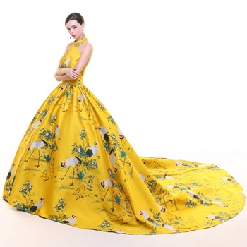 Yellow Evening Dresses 2019 Halter Satin Trailing Backless Plus Size Long Party Dresses Gown Chinese Fashion Cheongsam Dress