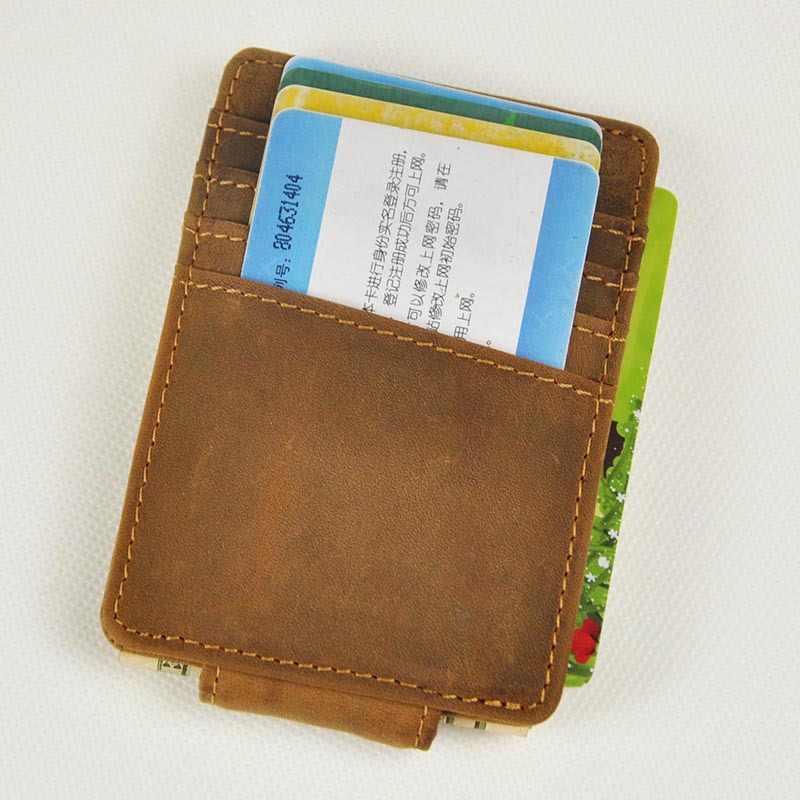 Винтажный зажим для денег из натуральной кожи передний карман зажим для держатели денег Магнит Волшебные Зажимы для денег кошелек с карточкой ID Чехол