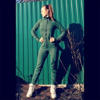 Winter Green Women Jumpsuits 2019 Long Sleeve Hooded Outfits Zipper Cotton Sexy Outwear Jogging Bandage Bodycon Fitness Jumpsuit