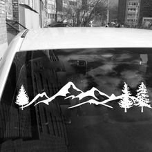 For SUV RV Camper Offroad 1pc 100cm Black/White Tree Mountain Car Decor PET Reflective Forest Sticker Decal
