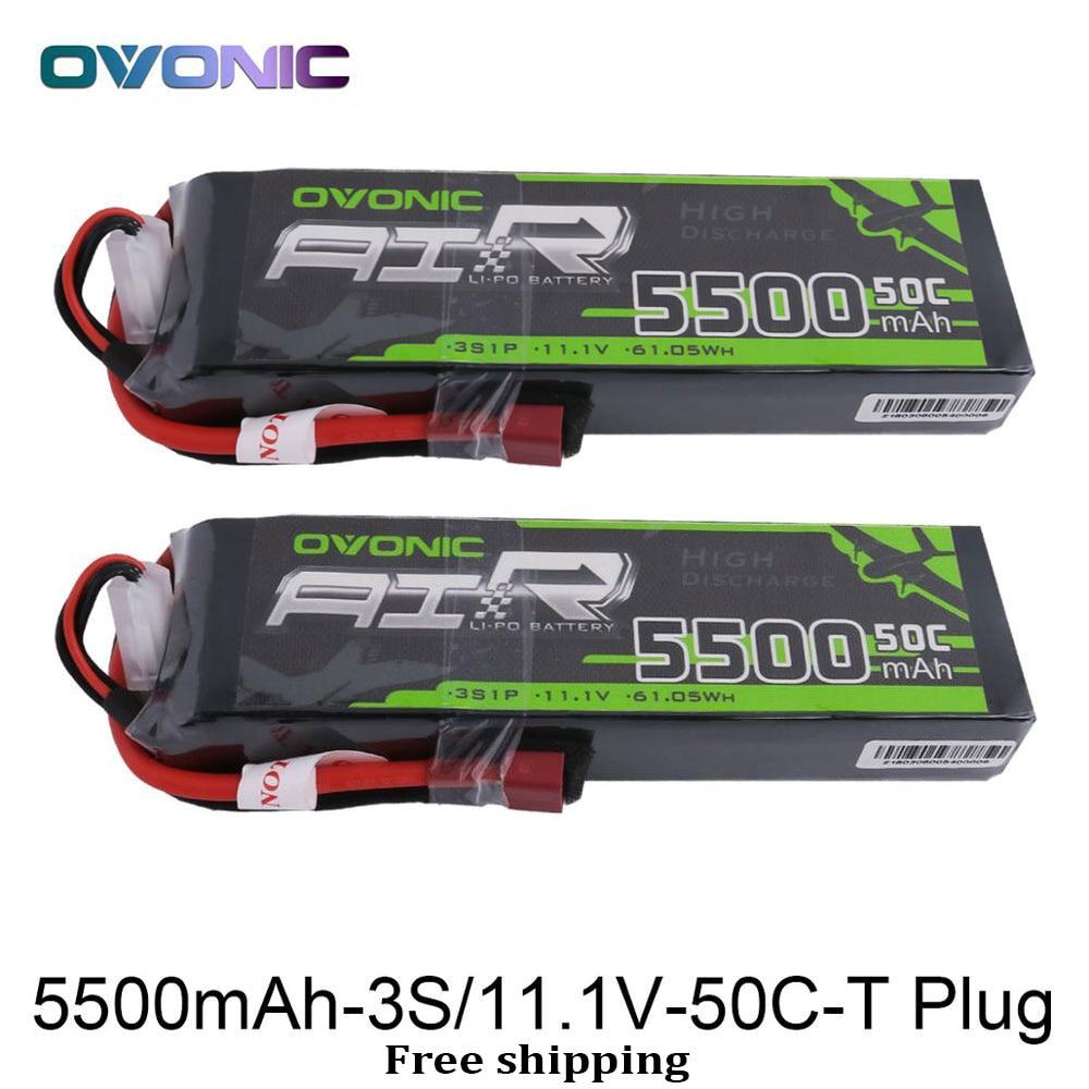2 Packs Ovonic 5500mAh 11.1V LiPo 3S 50C Battery Pack Deans XT60 T Plug for Erevo VXL 2.0 Car Heli Quad RC Car Free Shipping